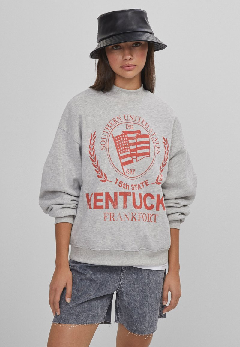 Bershka - MIT SLOGAN UND PRINT  - Sweatshirt - light grey