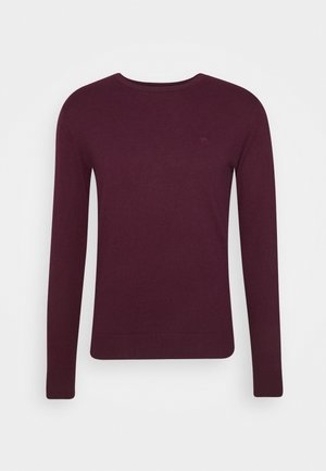 BASIC CREW NECK - Strikpullover /Striktrøjer - wine red melange