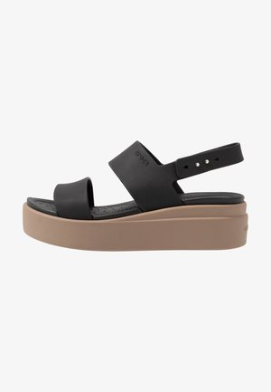 BROOKLYN LOW WEDGE - Sandali con plateau - black/mushroom