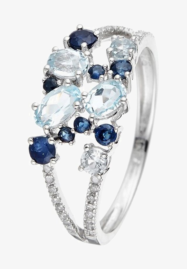 WHITE GOLD RING 9K CERTIFIED 5 TOPAZ 1.03 CT. 8 SAPPHIRES 0.5 CT AND 32 DIAMONDS HP1 0.10 CT - Ring - silver