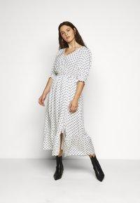 City Chic - DRESS SPOTTY TIER - Shirt dress - white - 0