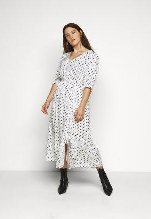 DRESS SPOTTY TIER - Shirt dress - white