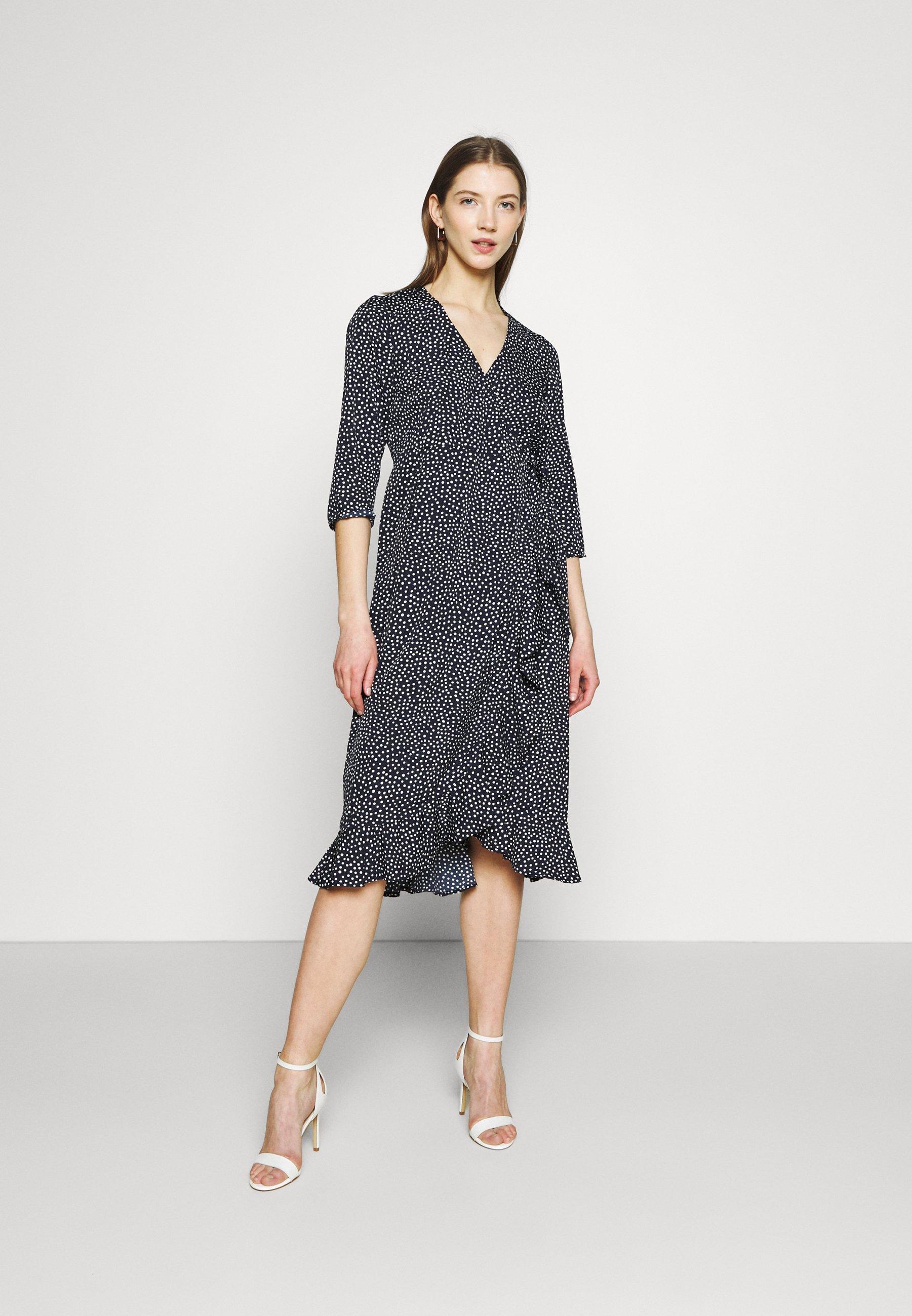 Women VMHENNA WRAP CALF DRESS - Day dress