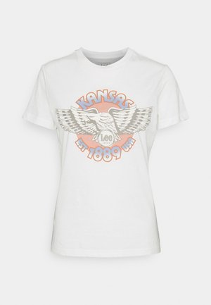SLIM LOGO TEE - Print T-shirt - ecru