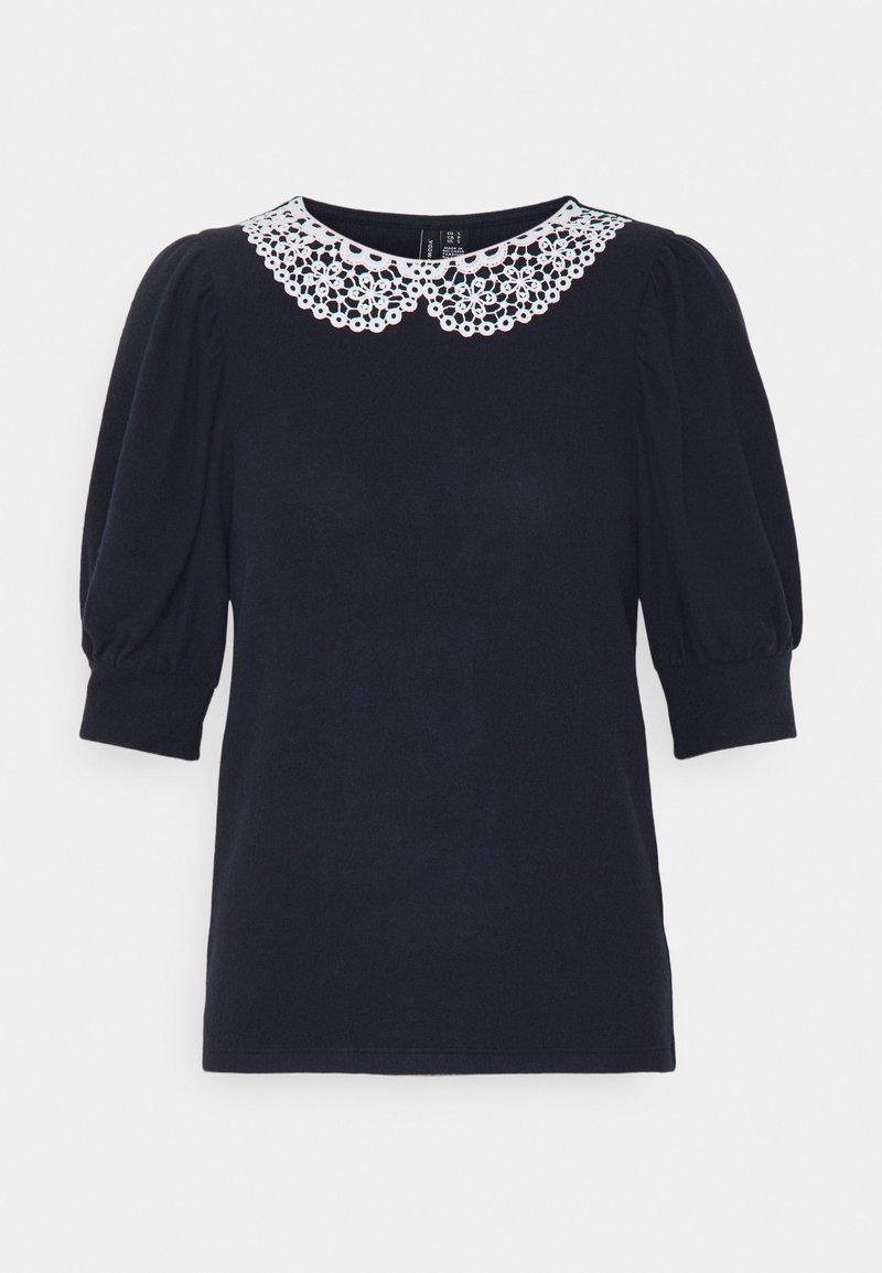 Vero Moda - VMTAMIRA COLLAR - Print T-shirt - night sky/snow white