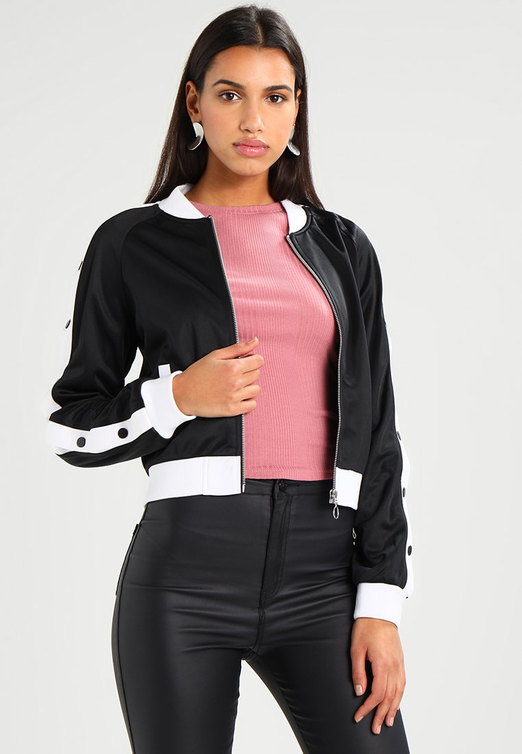 Urban Classics - LADIES BUTTON UP TRACK JACKET - Bomber Jacket - black/white
