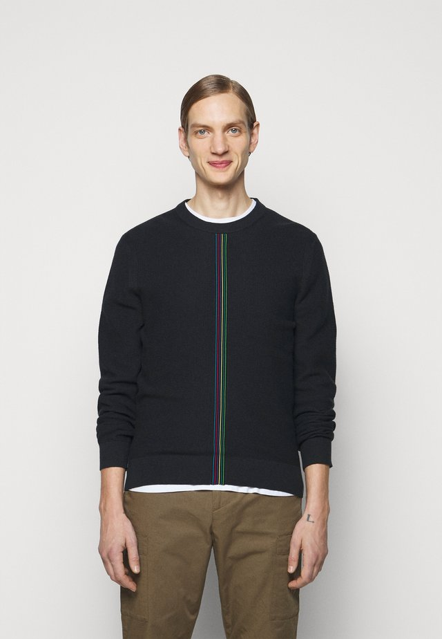 MENS CREW NECK - Stickad tröja - black, multi-coloured