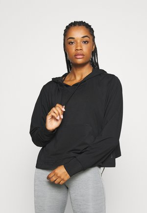 YOGA CROP PLUS - Sportshirt - black/dark smoke grey