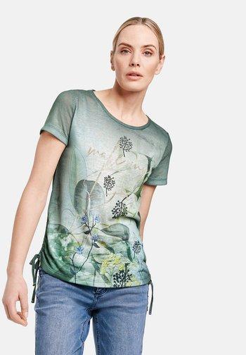 KURZARM - Blouse - botanical green gemustert