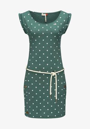 TAG DOTS - Jersey dress - dunkelgrün