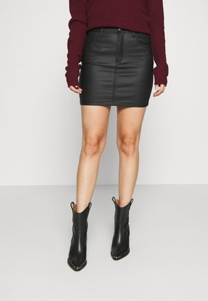 COATED MINI SKIRT - Mini skirt - black