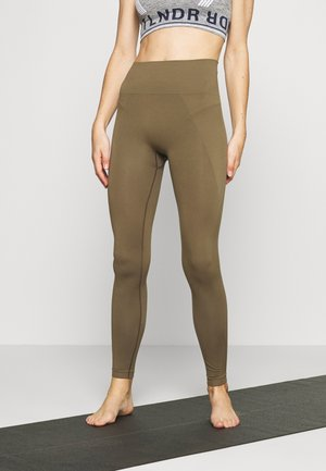 HIGH SEAMLESS LEGGING - Punčochy - mud