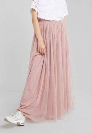 DOTTED MAXI SKIRT - Pleated skirt - iris pink