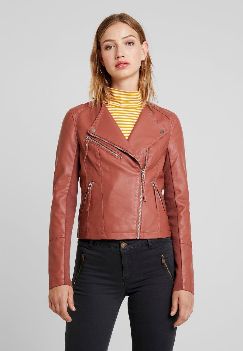 Vero Moda - RIAFAV SHORT JACKET - Faux leather jacket - mahogany