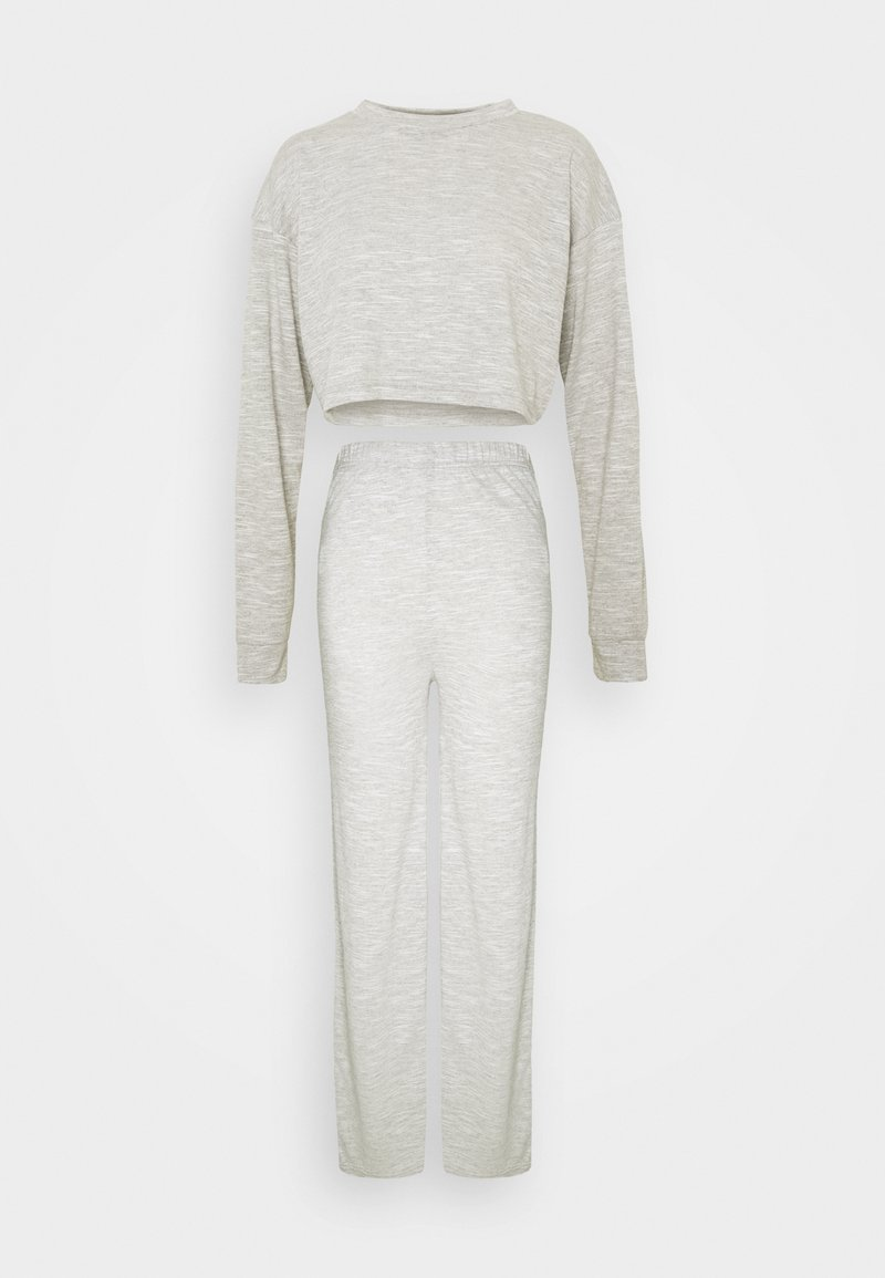 Missguided - CROPPED BATWING AND WIDE LEG SET - Tracksuit - grey