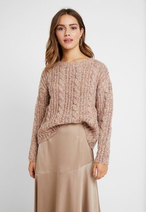 VMFRIENDLY O-NECK CABLE - Kardigan - sepia rose/comb