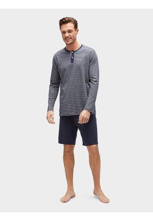 MIT GESTREIFTEM OBERTEIL - Pyjama bottoms - dark blue