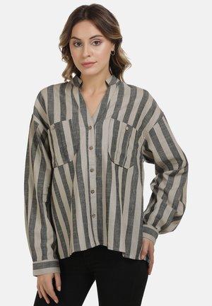 DREIMASTER BLUSE - Button-down blouse - nude schwarz