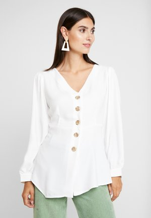 V NECK BUTTONED BLOUSE WITH UNEVEN HEM - Blusa - white