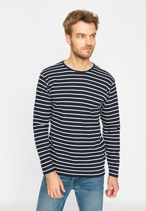 Long sleeved top - navy ecru