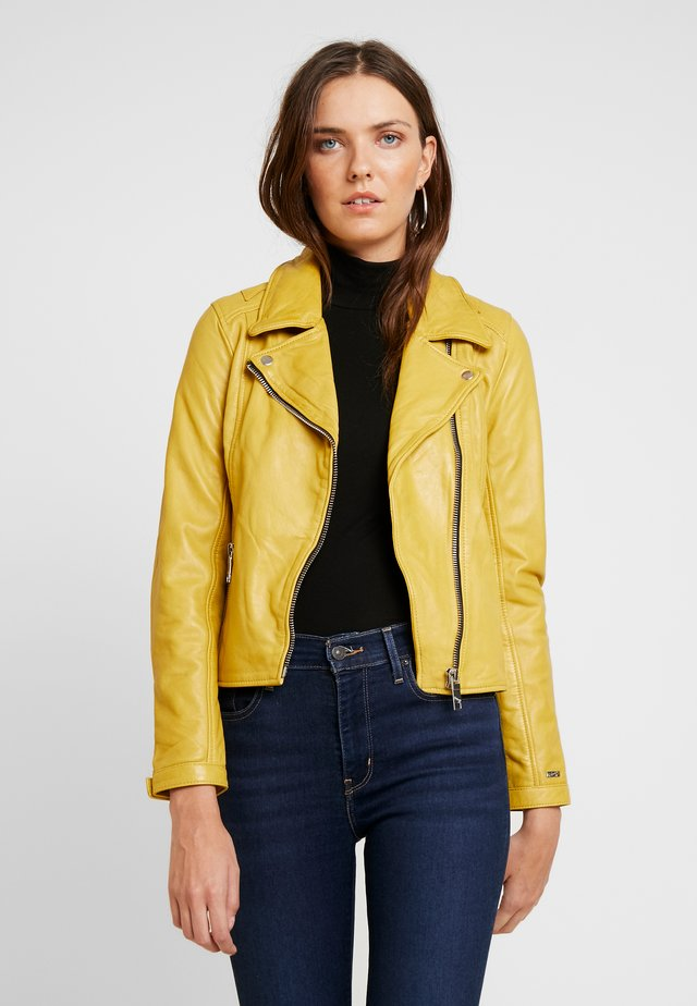 INDIANA - Leather jacket - yellow