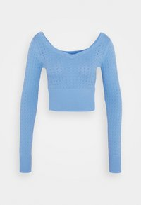 Glamorous - CARE POINTELLE CROP WITH LONG SLEEVES AND V NECK - Pullover - alaskan blue - 0