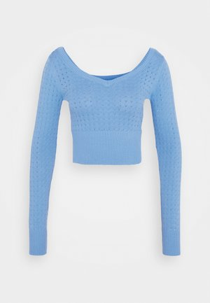 CARE POINTELLE CROP WITH LONG SLEEVES AND V NECK - Strikpullover /Striktrøjer - alaskan blue
