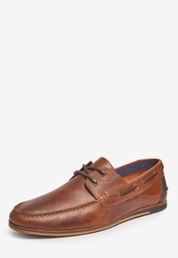 Next - NAVY FORMAL TEXTURED LEATHER BOAT SHOES - Chaussures bateau - brown - 2