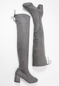 Miss Selfridge Wide Fit - WIDE FIT OSLO LOW BLOCK - Over-the-knee boots - charcoal grey - 3