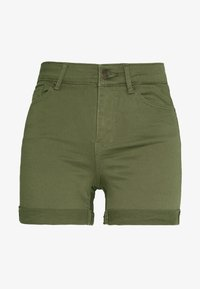Vero Moda - VMHOT SEVEN MR FOLD SHORTS COLOR - Denim shorts - ivy green - 4