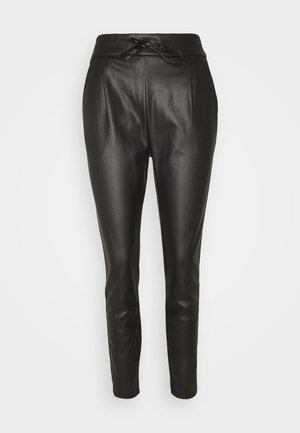 VMEVA MR LOOSE STRING COATED PANT - Bukse - black