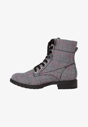 STIEFELETTE - Lace-up ankle boots - black/checkers