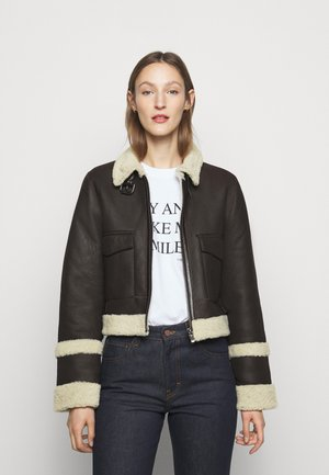 CROPPED AVIATOR JACKET - Kurtka skórzana - chestnut brown