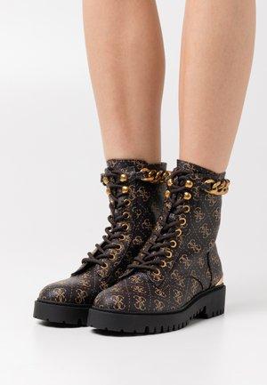 ORMOND - Platform ankle boots - brown