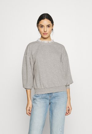 ONLLISA O NECK - Sweatshirt - light grey melange/white