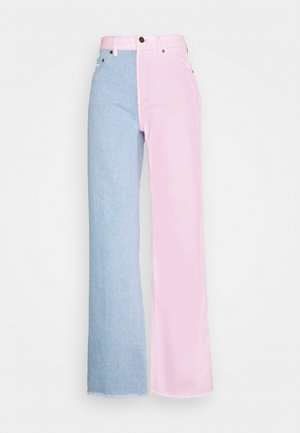 BLOCK WIDE LEG PANTS - Relaxed fit jeans - rose/blue