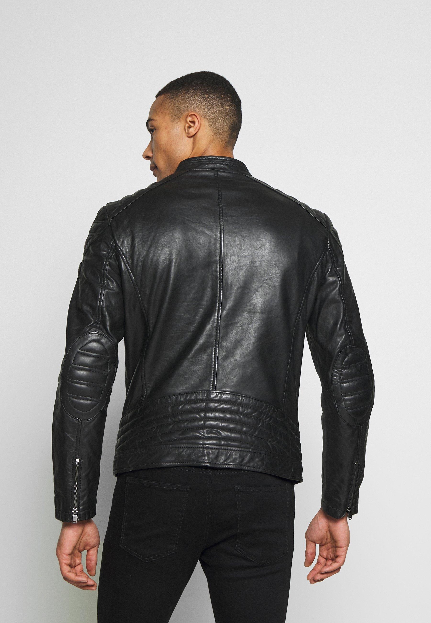 GLAM ROCK BIKER Leren jas jet black