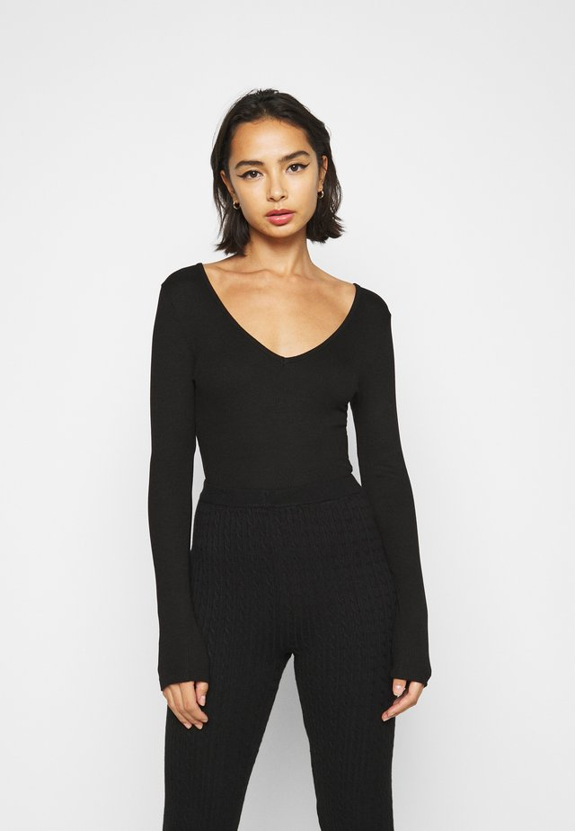 V NECK BODYSUIT - Long sleeved top - black