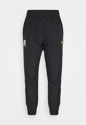 PANT - Tracksuit bottoms - black/hot lime