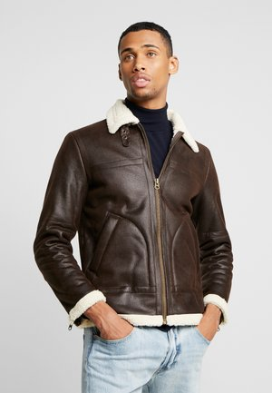 SHEARLING - Faux leather jacket - dark brown