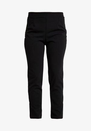 CREPE SLIT PANTS - Pantalones - black
