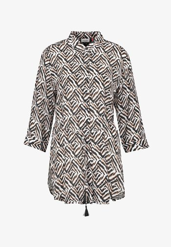 MIT GRAFISCHEM MUSTER - Button-down blouse - ecru schwarz sahara druck