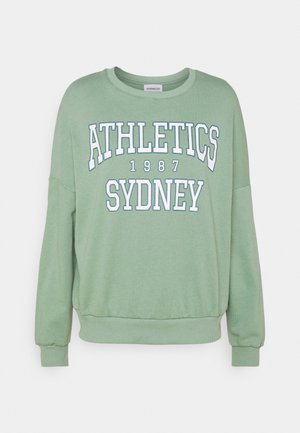 Printed Crew Neck Sweatshirt - Sweatshirt - green