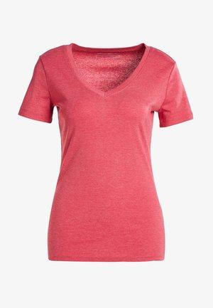 MIT V-AUSSCHNITT - Basic T-shirt - rot meliert