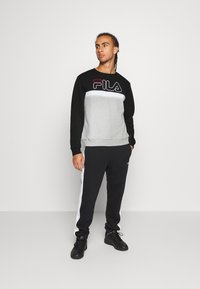 Fila - LAURUS CREW - Sweatshirt - light grey melange/black/bright white - 1