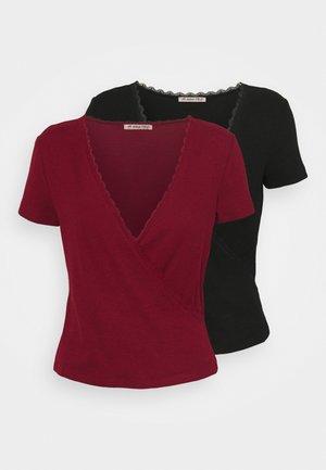 2 PACK - T-shirt imprimé - black/dark red