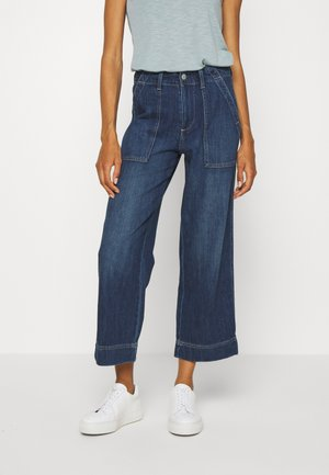 WIDE LEG CROP UTILITY - Relaxed fit jeans - dark wash