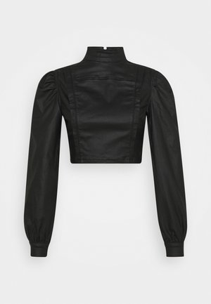 HIGH NECK PUFF SLEEVE - Long sleeved top - black