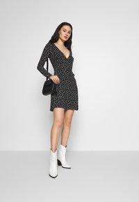 Even&Odd - FAKE WRAP DRESS - Jersey dress - black/white - 1