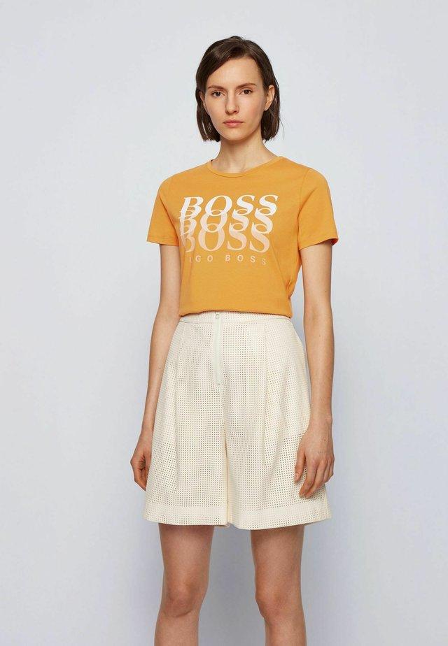 Print T-shirt - open yellow